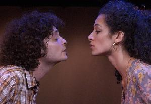 Michael Ray Escamilla as Chaparro  & Lucia Brawley as Soledad  in <i> Fuentes</i>